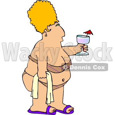 Obese Woman Wearing a Swimsuit, Holding a Towel and Alcoholic Beverage Clipart © djart #4144