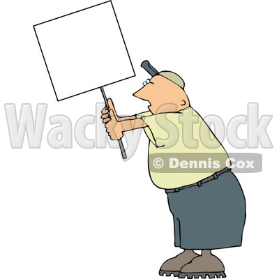 Male Protester Holding Up A Blank Sign Clipart © Dennis Cox #4157