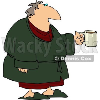 Tired Man Wearing a Bathrobe and Holding a Cup of Coffee During the Early Morning of His Day Clipart © djart #4161