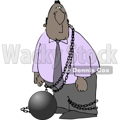 Illegal Immigrant Restrained with a Ball and Chain Clipart © djart #4169
