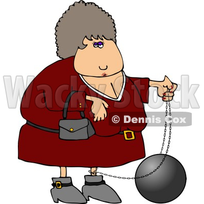 Female Criminal Wearing a Ball and Chain Clipart © djart #4171