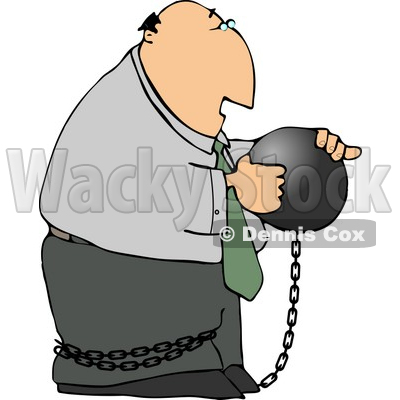Businessman Criminal Wearing a Ball and Chain Clipart © Dennis Cox #4172