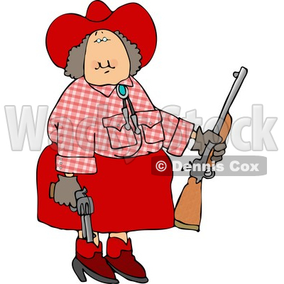 Cowgirl Holding a Rifle and a Pistol at a Firearm Target Practice Area Clipart © Dennis Cox #4180
