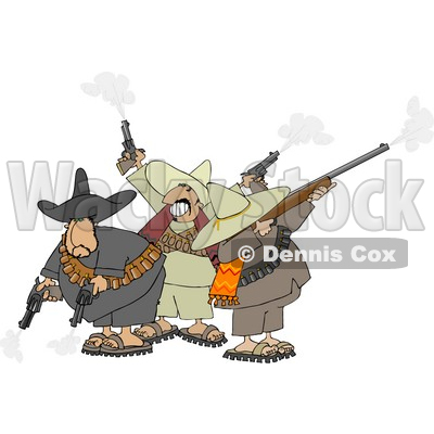 Banditos Shooting Pistols and Rifles Clipart © djart #4183