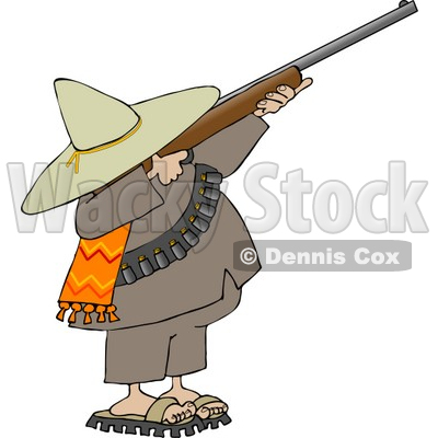 Bandito Aiming a Rifle and Getting Ready to Shoot Clipart © djart #4185