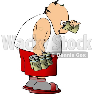 Man Drinking a Six Pack Of Beer Clipart © djart #4189