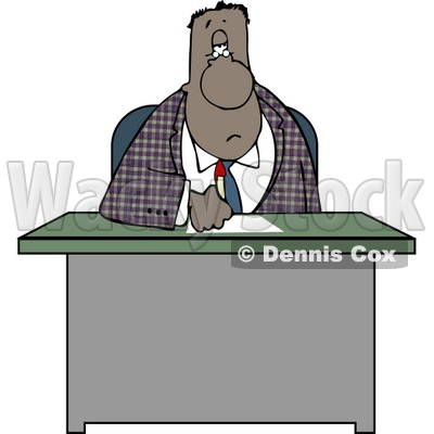 Ethnic Businessman Writing On Papers at His Office Desk Clipart © djart #4195