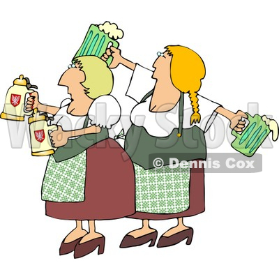 German Girls Dressed Wearing Traditional German Outfits and holding Beer Steins and Pitchers Clipart © Dennis Cox #4203