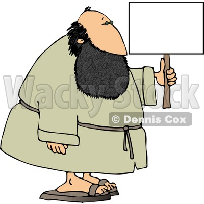 Fat Bearded Man Holding a Blank Sign Clipart © djart #4204