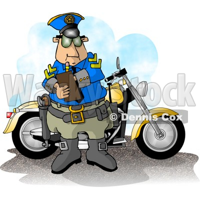 Motorcycle Policeman Filling Out a Traffic Citation/Ticket Form Clipart