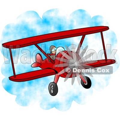 Male Pilot Flying a Red Biplane Clipart © djart #4207