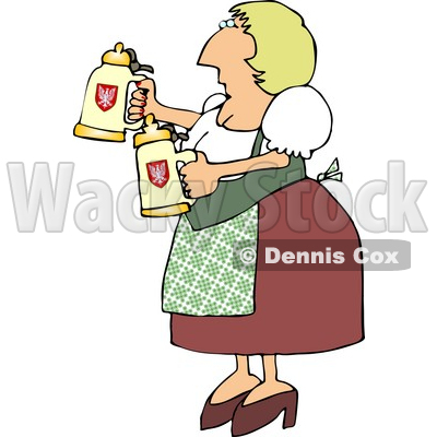 Oktoberfest German Woman Serving Beer in Steins Clipart © djart #4208