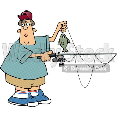 Boy Holding a Fish and Fishing Pole Clipart © djart #4211