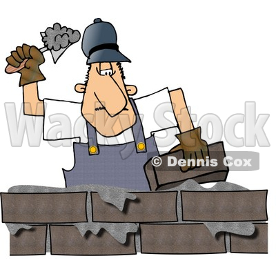 Male Builder Cementing a Brick Wall Clipart © Dennis Cox #4214