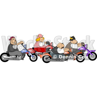 Biker Men and Woman Riding Motorcycles Together as a Group Clipart © Dennis Cox #4216