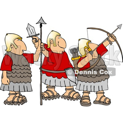 Roman Soldiers Armed with Bow & Arrow, Sword, and Spear Clipart © djart #4218