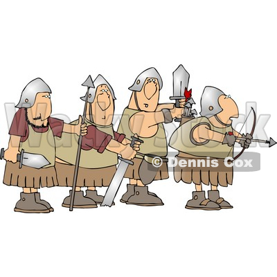 Four Roman Soldier Armed with Weapons and Ready for Battle Clipart © djart #4220