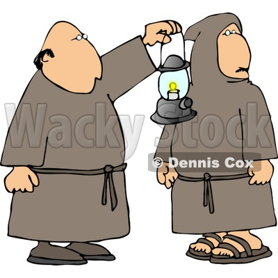 Two Religious Monks with a Lantern at Night Clipart © djart #4223