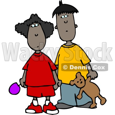 Ethnic Brother and Sister Standing Together Clipart © djart #4231