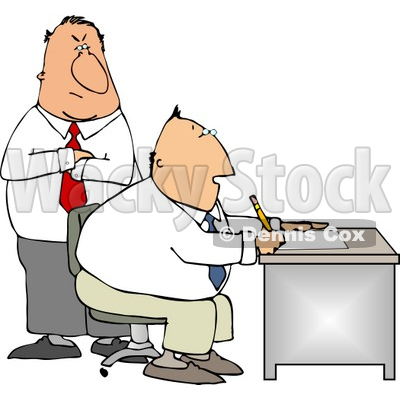 Boss Looking Over Employee's Shoulder as He Works at His Desk in His Office Clipart © Dennis Cox #4234