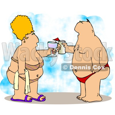 Obese Husband and Wife Vacationing at the Beach Clipart Illustration  © djart #4235