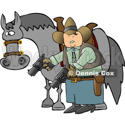 Cowboy Standing Beside His Horse and Pointing Guns Towards the Ground Clipart © djart #4237