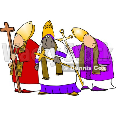Three Bishops Standing Together, One is Ethnic Clipart © djart #4239