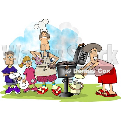 Family bbq clipart illustration