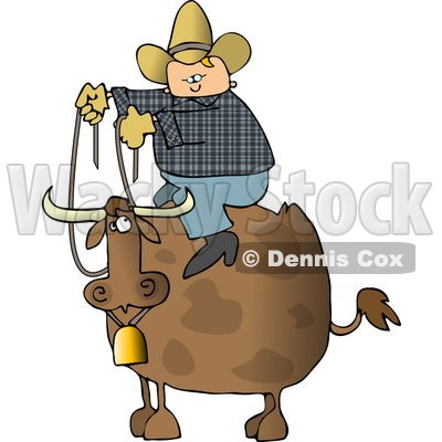 Cowboy Sitting On the Back of a Bull with Horns and a Bell Clipart © djart #4248