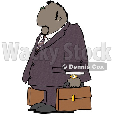 Ethnic Businessman Traveling with a Couple Briefcases Clipart © Dennis Cox #4260