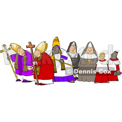 Group of Religious Nuns and Bishops Clipart © djart #4265
