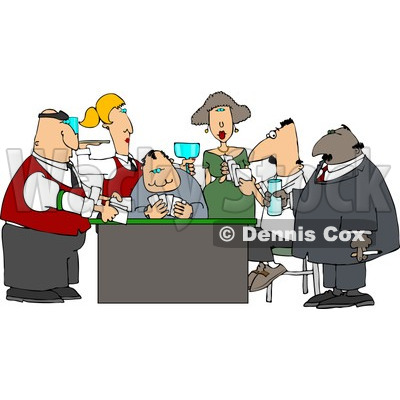 Casino Gamblers Playing Poker Game Clipart © djart #4266