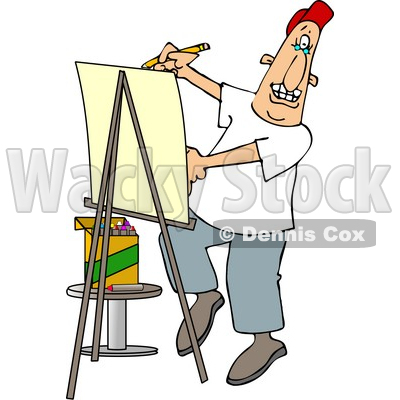 Artist Drawing Caricature On Posterboard Clipart © Dennis Cox #4269