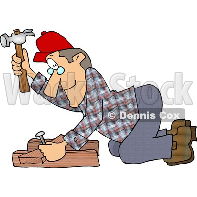 Male Carpenter Hammering a Nail Through Wood Beams Clipart © djart #4273