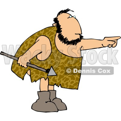 Caveman Holding a Spear and Pointing His Finger at Something Clipart © djart #4281