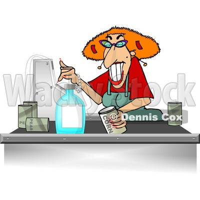 Grocery Store Checkout Clerk Ringing Up Food Items In Her Cash Register Clipart © Dennis Cox #4287
