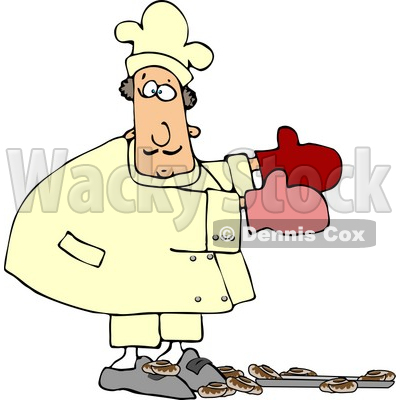 Baker Accidentally Dropping a Pan of Baked Cinnamon Rolls On the Floor Clipart © Dennis Cox #4291