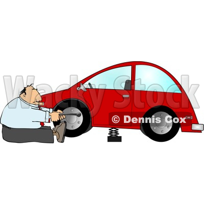 Businessman Changing a Flat Tire Clipart © djart #4292