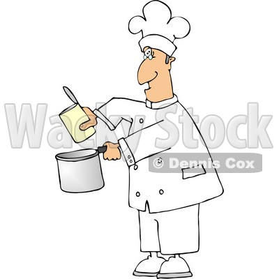 Chef Pouring Food from a Can Into a Cooking Pot Clipart © djart #4295