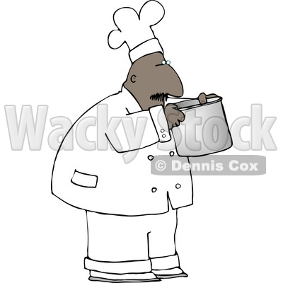 Ethnic Male Chef Smelling Food In a Cooking Pot Clipart © djart #4296