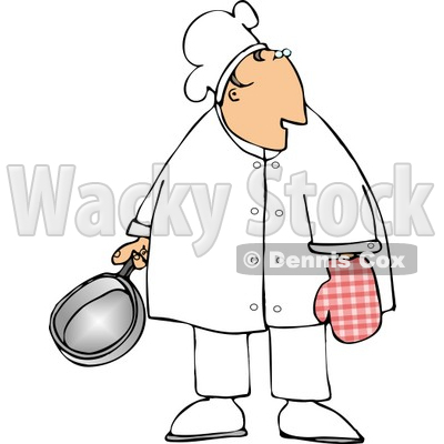 Male Chef Wearing an Oven Mitten and Holding a Cooking Pot Clipart © djart #4301