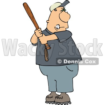 Angry Male Baseball Batter Holding the Bat Aggressively and Getting Ready to Swing at the Ball Clipart © djart #4315
