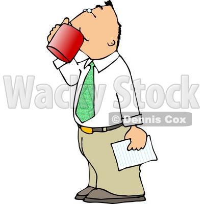 Businessman Holding a Letter and Drinking a Cup of Coffee Clipart © djart #4319