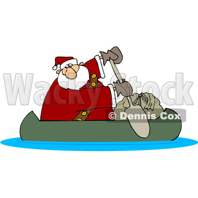 Royalty-Free (RF) Clipart Illustration of Santa In A Canoe With His Sack © djart #432130
