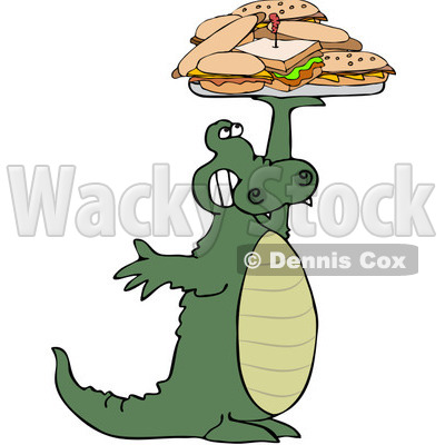 Royalty-Free (RF) Clipart Illustration of an Alligator Holding Up A Lunch Tray Of Sandwiches © djart #432132