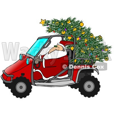Royalty-Free (RF) Clipart Illustration of Santa Driving A Mud Bug With A Christmas Tree On The Back © djart #432136