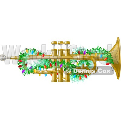 Brass Trumpet Instrument Decorated with Christmas Lights Clipart © djart #4322