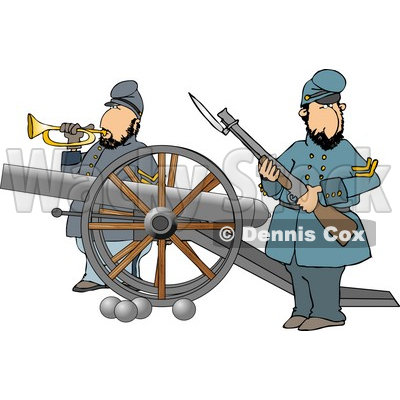 Civil War Soldiers Holding a Loaded Rifle and Playing a Bugler Horn Beside a Cannon On the Battlefield Clipart © djart #4331