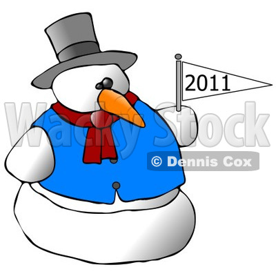 Royalty-Free (RF) Clipart Illustration of a Snowman Holding A New Year Flag © djart #433476