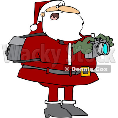 Royalty-Free (RF) Clipart Illustration of Santa Holding A Camera And Taking Pictures © djart #433597
